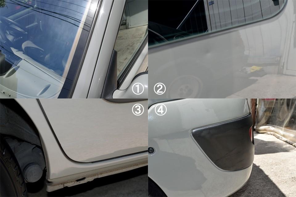 全体的にはキレイで程度の良いカングーですが、やはり気になる点はあるわけで・・・①フロントガラスの両端が少し日焼けで変色しています。②左スライドドアに小凹みが数ヵ所あります。③右スライドドアにタッチアップ補修跡あります。④左リア角にすり傷があります。