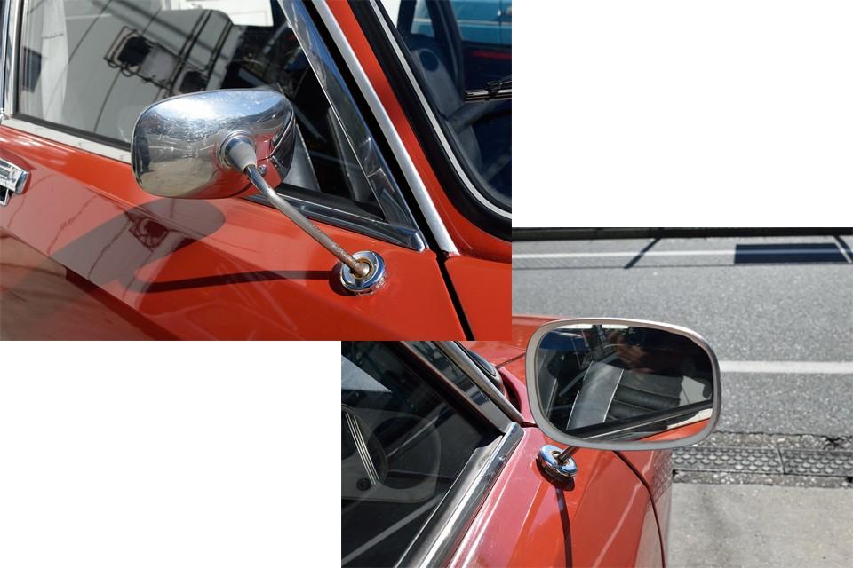 この時代、もともと運転席側ミラーしか付いていないので、イギリス仕様の右ハンドル車は、この華奢なミラーがオリジナル!ミラー部を保持する周囲の樹脂枠は、お決まりの崩壊状態でしたので、他のミラーへの交換も考えましたが、やっぱりオリジナル重視ということで、白いコーキング剤でスッキリと補修しました!むしろいい感じでしょ?