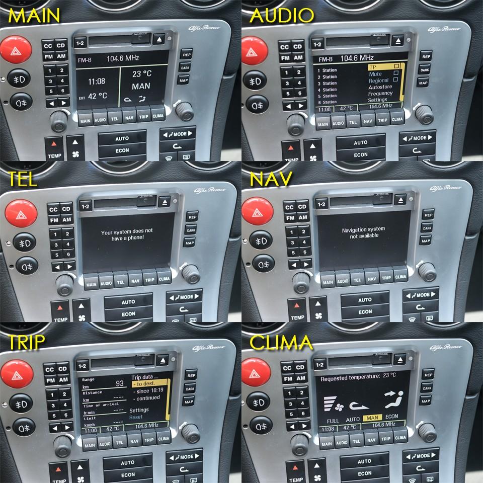 センターコンソールのコントロールパネルを詳しく見てみましょう。ディスプレイ下に並んだボタンでそれぞれの操作画面に切り替わります。 MAIN:オーディオ、時計、気温、空調設定を表示。AUDIO:画面はFMラジオ受信状態です。並行車では周波数の表示がずれてしまいます。これでFM TOKYO80.0MHzを受信しています。TEL:並行車のため日本国内では機能しません。NAV:並行車のため日本国内では機能しません。TRIP:走行距離、走行時間、アベレージ速度、燃料消費量等が表示されます。CLIMA:空調設定の詳細が表示されます。