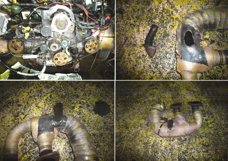 ちなみに、その時の作業画像がコレ。排気漏れは溶接修理で完治。分解したついでにマニホールドガスケットの交換も実施!オイル漏れはオイルクーラーホース交換、合わせて右ドライブシャフトブーツも交換済!