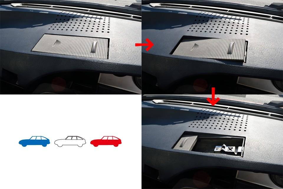 ダッシュパネルの真ん中にある灰皿は、まず左側を押して斜めにし、フタを左にスライドさせれば、この通り!・・・形状がどうとかっていうより、考え方がアヴァンギャルド~!