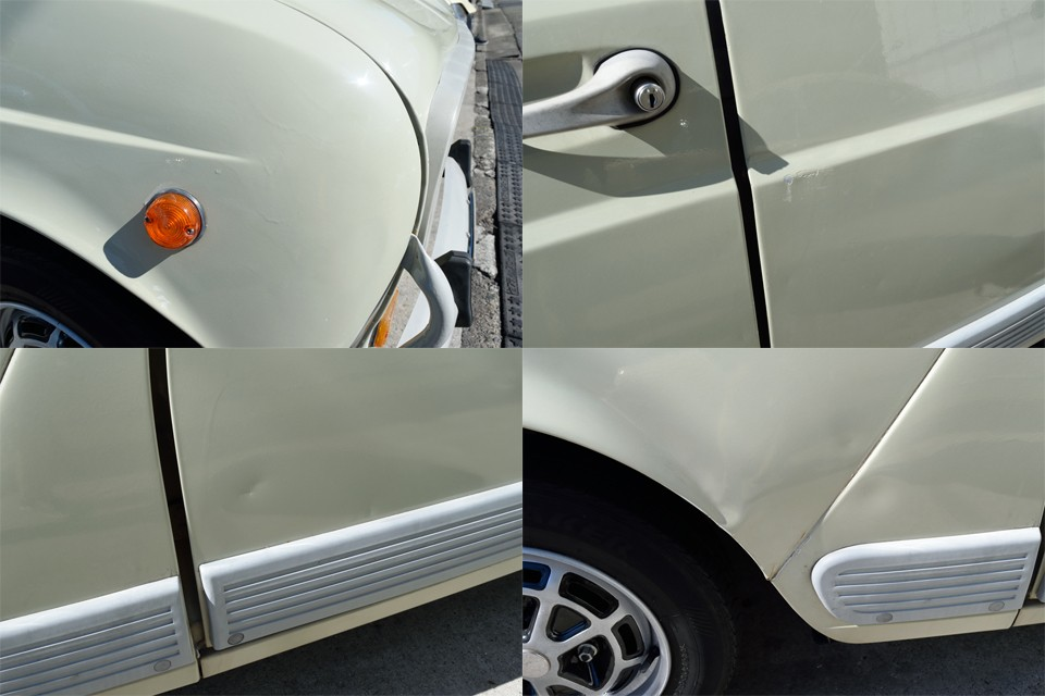 左上:右Fフェンダーに塗装ムラ、右上:左リアドアにキズ、左下:左リアドアに凹み、右下:左Fフェンダーにゆがみ、等々、細かく見ればまだまだありますが、個人的には許容出来る範囲なのではないかと・・・。